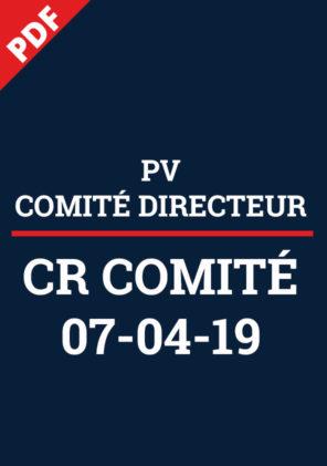 PV Comité Directeur 7 avr 2019